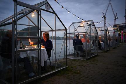 Ресторан в Амстердаме изолирует посетителей в теплицах