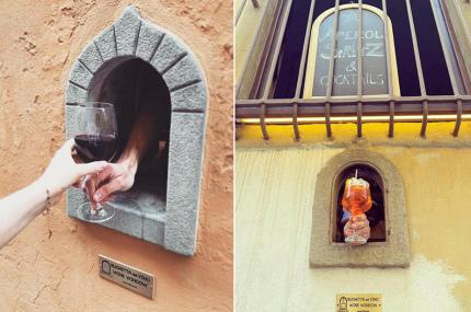 Бары и рестораны Тосканы начали подавать напитки через средневековые «винные окна»