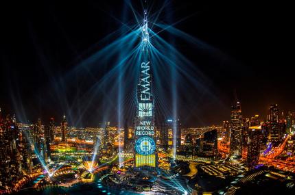 Новогоднее лазерное шоу в Дубае попало в книгу рекордов